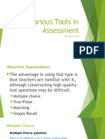 Various Tools in Assessment