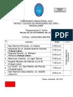 CAMPEONATO MAGISTERIAL - 2016 PROGRAMACIÓN 6° FECHA
