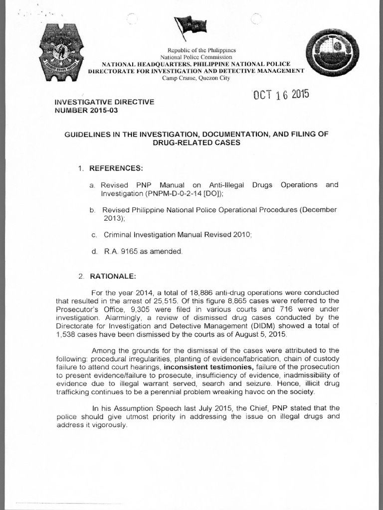 pnp investigative directive affidavit prosecutor rh scribd com criminal defense investigation manual irs criminal investigation manual