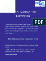 Student E Help | BUS 475 Capstone Final Examination Part 1 Questions with answers