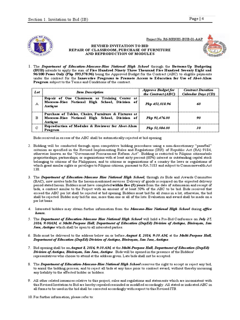 Bid bulletin no4 revised itb politics social institutions 1betcityfo Images
