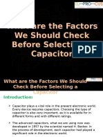 What Are the Factors We Should Check Before Selecting a Capacitor