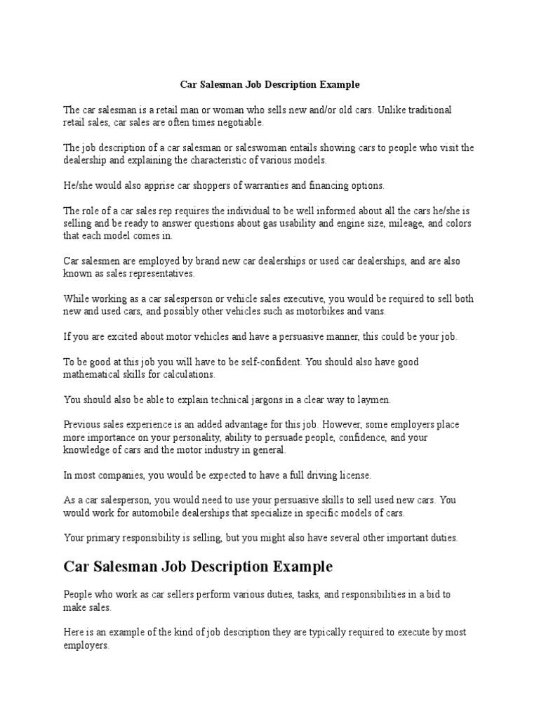 car sales representative job description