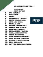 Daftar Siswa Kelas Tk a1