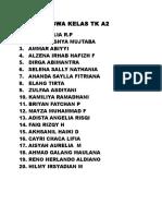 DAFTAR SISWA KELAS TK A2.doc