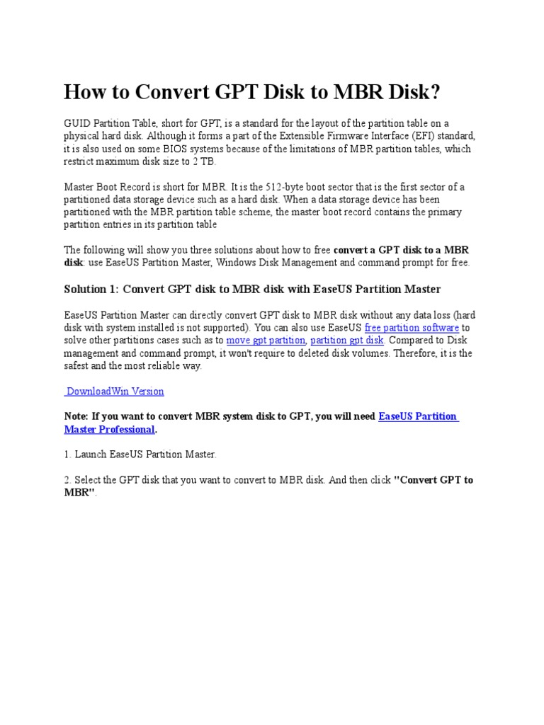How to Convert GPT Disk to MBR Disk | Disk Storage | Floppy Disk