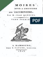 Barruel Augustin - Mémoires Pour Servir à l'Histoire Du Jacobinisme Tome 1