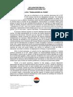 Declaración Pública - Lista Trabajadores Al Poder - Elecciones CUT 2016