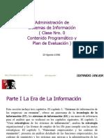 Adm Sist Inf Clase 1 y 2 Contenido Programatico Evaluacion