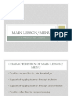Main Lesson Menu Approach to Lessons