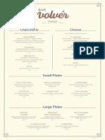 Bar Volvér's new menu