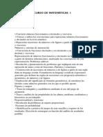 TEMARIO DEL CURSO DE MATEMÁTICAS  I