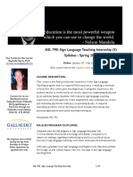 asl 790   sign language teaching internship - three sections - spring 2015