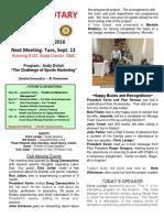 Moraga Rotary Newsletter - Sept. 6 2016 1