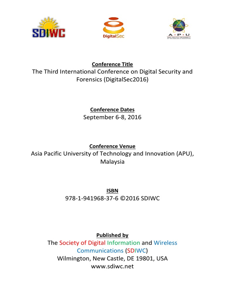 Proceedings of the third international conference on digital proceedings of the third international conference on digital security and forensics digitalsec kuala lumpur malaysia 2016 variable computer science fandeluxe