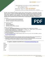 QMS 9001-2015 Interpretation & Documented Information 13-14 Sept 2016