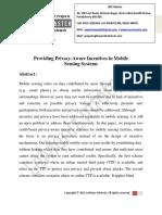 Providing Privacy-Aware Incentives in Mobile Sensing Systems
