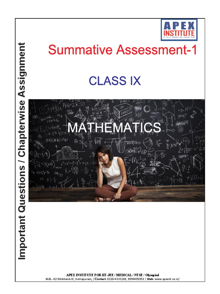Mathematics chapter wise assignment for class 9 summative assessment mathematics chapter wise assignment for class 9 summative assessment 1 cartesian coordinate system factorization fandeluxe Choice Image