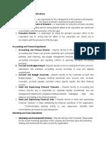 Job Descriptions and Qualifications S