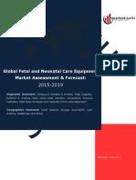 Global Fetal and Neonatal Care Equipment Market Assessment & Forecast