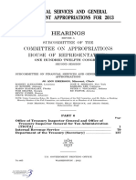HOUSE HEARING, 112TH CONGRESS - FINANCIAL SERVICES AND GENERAL GOVERNMENT APPROPRIATIONS FOR 2013