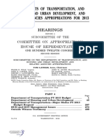 HOUSE HEARING, 112TH CONGRESS - DEPARTMENTS OF TRANSPORTATION, AND HOUSING AND URBAN DEVELOPMENT, AND RELATED AGENCIES APPROPRIATIONS FOR 2013