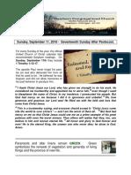 Pastor Bill Kren's Newsletter - September 11, 2016