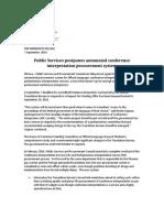 Public Services postpones automated conference interpretation procurement system