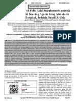 The Awareness of Folic Acid Supplements among Women of Child bearing Age in King Abdulaziz University Hospital, Jeddah-Saudi Arabia