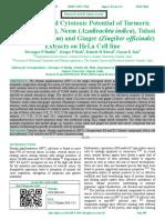 Anticancer and Cytotoxic Potential of Turmeric (Curcuma longa), Neem (Azadirachta indica), Tulasi (Ocimum sanctum) and Ginger (Zingiber officinale) Extracts on HeLa Cell line