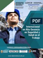 Diploma Internacional en Alta Gerencia en Seguridad y Salud en El Trabajo