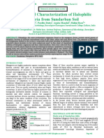 Isolation and Characterization of Halophilic Bacteria from Sundarban Soil