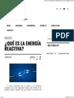 ¿Qué Es La Energía Reactiva