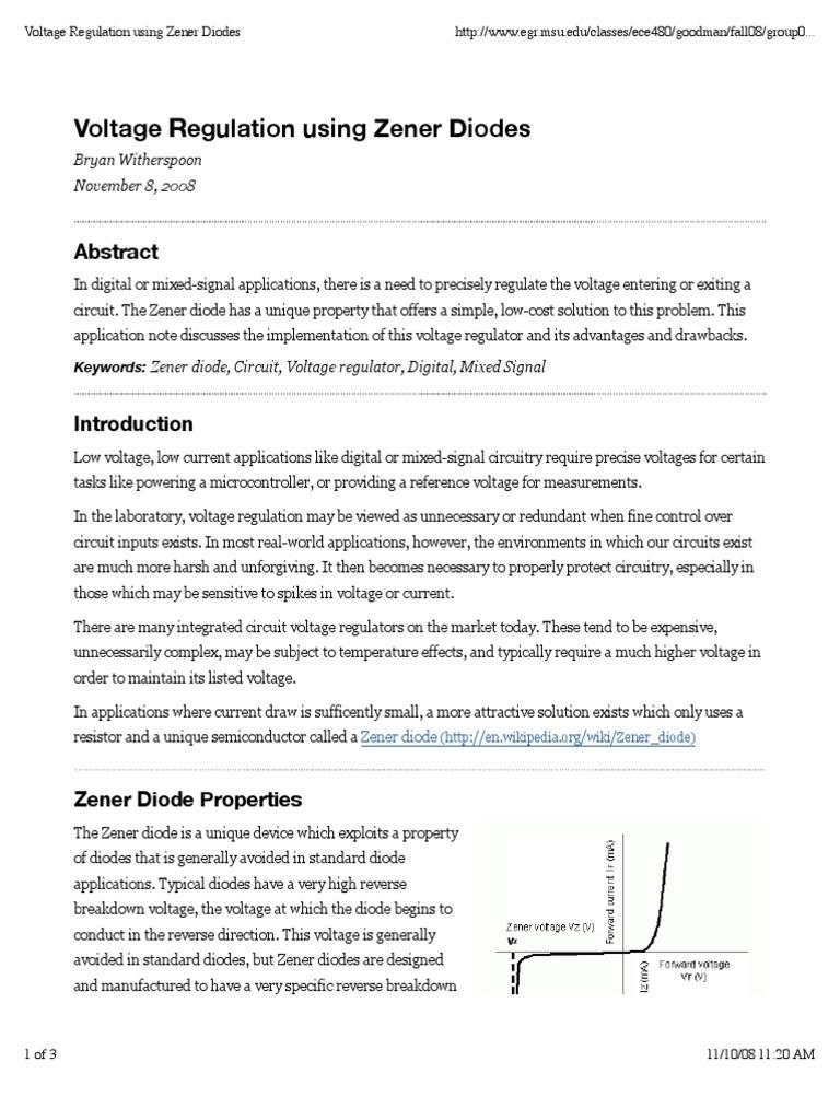 Literature Review Example Zener Diode As Voltage Regulatorpdf Circuit For Regulator Electronic Circuits
