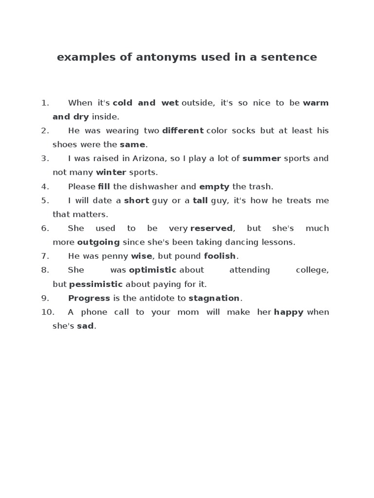 Worksheets 50 Examples Of Antonyms 1526412743v1