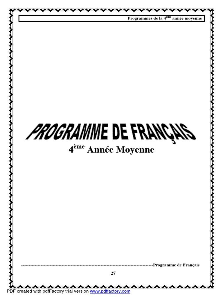 Programme Francais 4e Annee Moyenne Pdf