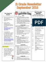 fourth grade newsletter - sept 2016
