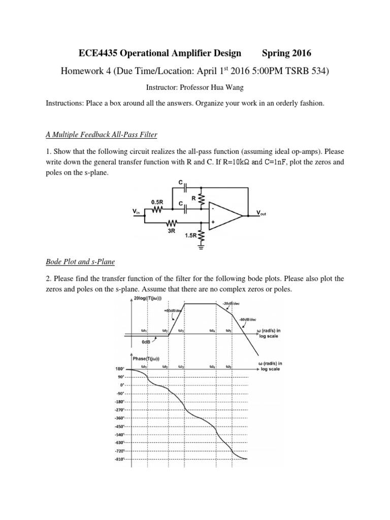 Homework 4   Operational Amplifier   Electronic Filter