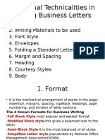 Additional Technicalities in Writing Business Letters (1)