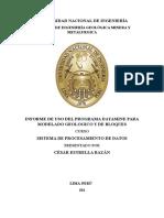 INFORME UTILIZACIÓN DE DATAMINE PARA MODELAMIENTO GEOLÓGICO Y ANÁLSIS GEOESTADISTICO_FINAL.docx
