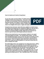 Dan Aschenbach Letter to Zoning Board