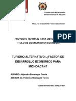 Turismo Alternativo, Factor de Desarrollo Económico Para Michoacán