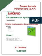 AH Administración Agropecuaria-Informe Técnico Costeo de Cerca Eléctrica Grupo 1