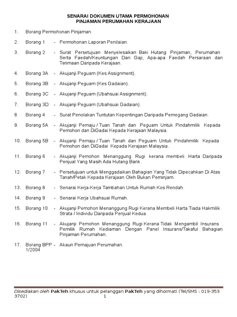 Senarai Dokumen Utama Permohonan Pinjaman Perumahan
