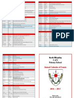 Annual Calendar of Events 2016 17 September Updated
