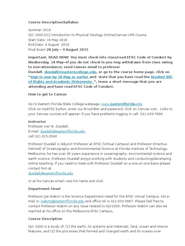Gly1000 01z Sum16 Course Description Test Assessment Geology