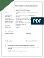 Formulir Pengajuan Topik Dan Lokasi Kerja Praktek