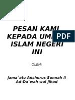 Pesan Kami Kepada Umat Islam