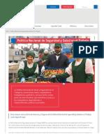Política Nacional de Seguridad y Salud en El Trabajo