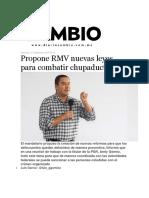 07-09-2016 Diario Cambio - Propone RMV Nuevas Leyes Para Combatir Chupaductos